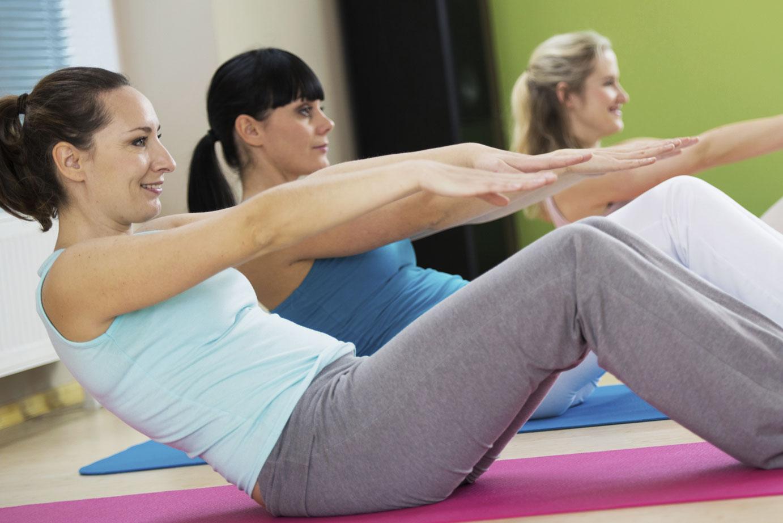 Group of women doing Mat Pilates