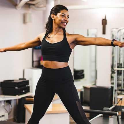 Trainer Cheryl doing Pilates